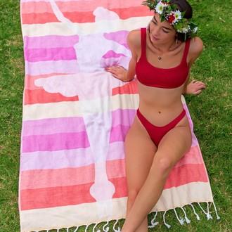Полотенце пештемаль для пляжа, сауны, бани Begonville BAMBOO BALLERINA бамбук/хлопок