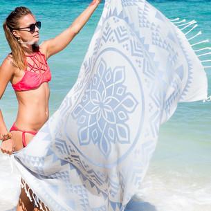 Полотенце пештемаль для пляжа, сауны, бани Begonville BAMBOO ARCANE бамбук/хлопок blue 100х180