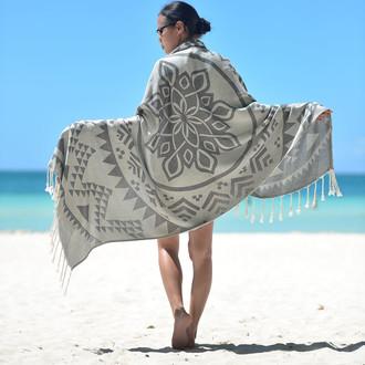 Полотенце пештемаль для пляжа, сауны, бани Begonville BAMBOO ARCANE бамбук/хлопок charcoal