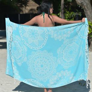 Полотенце пештемаль для пляжа, сауны, бани Begonville BAMBOO LACE бамбук/хлопок turquoise 100х180