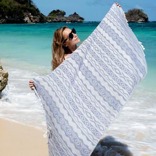 Полотенце пештемаль для пляжа, сауны, бани Begonville BAMBOO HERITAGE бамбук/хлопок denim blue 100х180