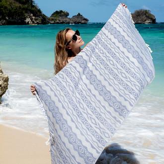 Полотенце пештемаль для пляжа, сауны, бани Begonville BAMBOO HERITAGE бамбук/хлопок denim blue