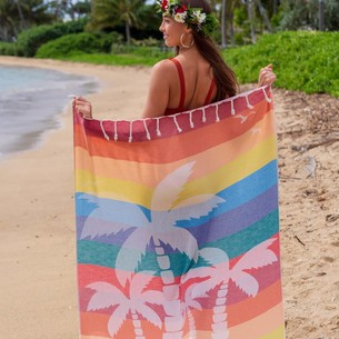 Полотенце пештемаль для пляжа, сауны, бани Begonville BAMBOO KAHALAI бамбук/хлопок party 100х180