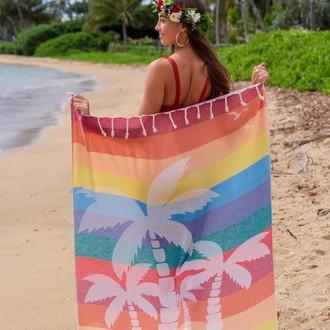 Полотенце пештемаль для пляжа, сауны, бани Begonville BAMBOO KAHALAI бамбук/хлопок party