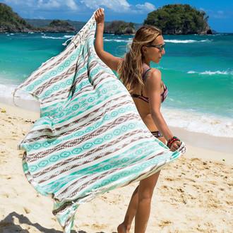 Полотенце пештемаль для пляжа, сауны, бани Begonville BAMBOO HERITAGE бамбук/хлопок mint