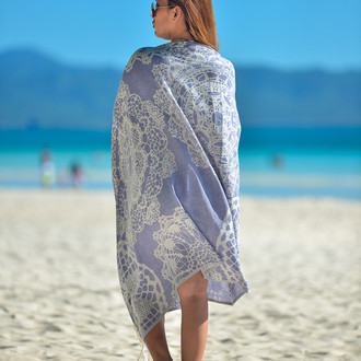 Полотенце пештемаль для пляжа, сауны, бани Begonville BAMBOO LACE бамбук/хлопок (navy blue)