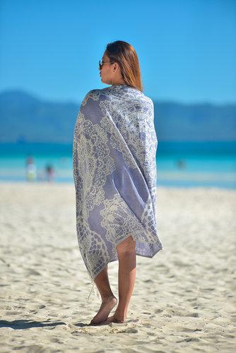 Полотенце пештемаль для пляжа, сауны, бани Begonville BAMBOO LACE бамбук/хлопок navy blue 100х180, фото, фотография