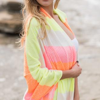 Полотенце пештемаль для пляжа, сауны, бани Begonville BAMBOO WAVES бамбук/хлопок neon