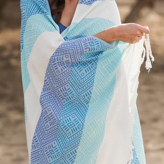 Полотенце пештемаль для пляжа, сауны, бани Begonville BAMBOO WAVES бамбук/хлопок blues