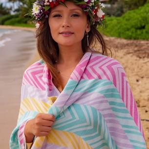 Полотенце пештемаль для пляжа, сауны, бани Begonville BAMBOO MOMENTUM бамбук/хлопок candy 100х180