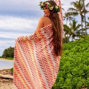 Полотенце пештемаль для пляжа, сауны, бани Begonville BAMBOO HARMONIC бамбук/хлопок reds 100х180