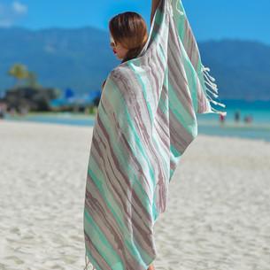Полотенце пештемаль для пляжа, сауны, бани Begonville BAMBOO BRUSH бамбук/хлопок mint 100х180