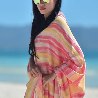 Полотенце пештемаль для пляжа, сауны, бани Begonville BAMBOO BRUSH бамбук/хлопок (red)
