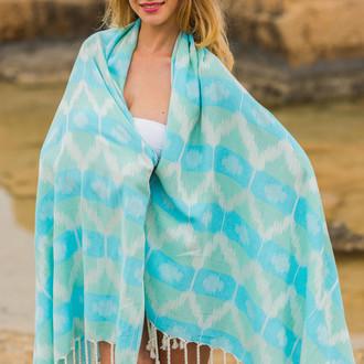 Полотенце пештемаль для пляжа, сауны, бани Begonville BAMBOO RIPPLE бамбук/хлопок azure