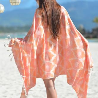 Полотенце пештемаль для пляжа, сауны, бани Begonville BAMBOO RIPPLE бамбук/хлопок peach