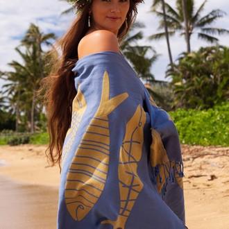 Полотенце пештемаль для пляжа, сауны, бани Begonville INDIGO & TERRA AQUATIC хлопок indigo gold