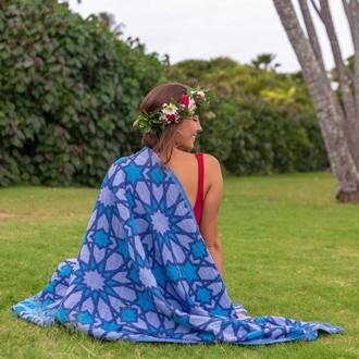 Полотенце пештемаль для пляжа, сауны, бани Begonville INDIGO & TERRA GRANADA хлопок (indigo)