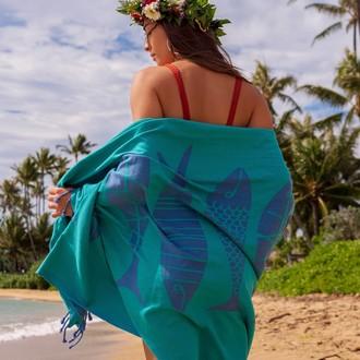 Полотенце пештемаль для пляжа, сауны, бани Begonville INDIGO & TERRA AQUATIC хлопок (indigo green)