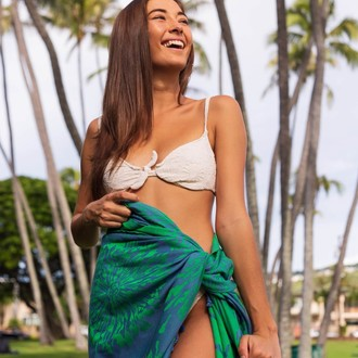 Полотенце пештемаль для пляжа, сауны, бани Begonville INDIGO & TERRA NADIA хлопок (indigo green)