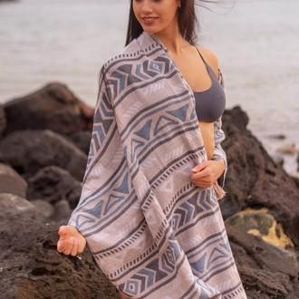 Полотенце пештемаль для пляжа, сауны, бани Begonville INDIGO & TERRA DORADO хлопок (terra indigo)