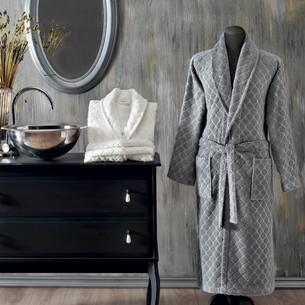 Халат мужской Tivolyo Home SIRANO бамбуко-хлопковая махра серый XL