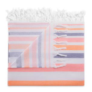 Полотенце пештемаль для пляжа, сауны, бани Begonville TERRY ELYSE хлопок orange navy blue 100х180