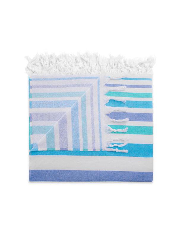 Полотенце пештемаль для пляжа, сауны, бани Begonville TERRY ELYSE хлопок (blue navy blue) 100*180, фото, фотография