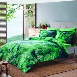 Постельное белье TAC PREMIUM DIGITAL RAIN хлопковый сатин делюкс зелёный евро
