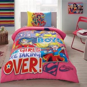 Детское постельное белье TAC SUPER HERO GIRLS хлопковый ранфорс 1,5 спальный