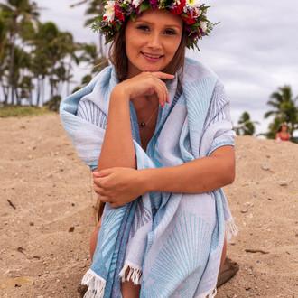 Полотенце пештемаль для пляжа, сауны, бани Begonville DREAMSCAPE CELESTE хлопок