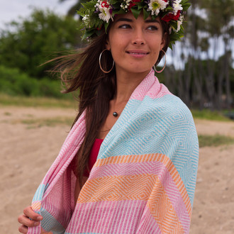 Полотенце пештемаль для пляжа, сауны, бани Begonville DREAMSCAPE STRATA хлопок candyland