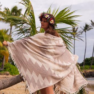 Полотенце пештемаль для пляжа, сауны, бани Begonville DREAMSCAPE COLONY хлопок beige
