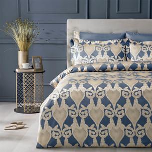 Постельное белье Tivolyo Home BERTA бамбуковый сатин-жаккард синий евро
