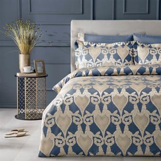Постельное белье Tivolyo Home BERTA бамбуковый сатин-жаккард синий