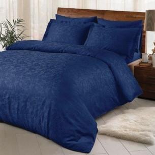 Постельное белье TAC LUX BRINLEY хлопковый сатин-жаккард делюкс ПВХ синий евро