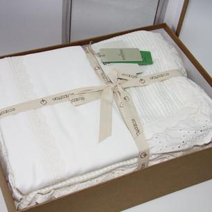 Постельное белье с покрывалом пике для укрывания Ecocotton ALESSA органический хлопок кремовый евро