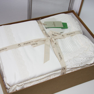 Постельное белье с покрывалом пике для укрывания Ecocotton ALESSA органический хлопок (кремовый)
