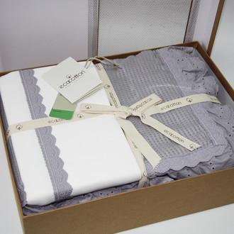 Постельное белье с покрывалом пике для укрывания Ecocotton ALESSA органический хлопок серый