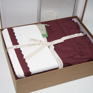Постельное белье с покрывалом пике для укрывания Ecocotton ALESSA органический хлопок сливовый евро