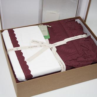 Постельное белье с покрывалом пике для укрывания Ecocotton ALESSA органический хлопок сливовый