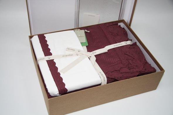 Постельное белье с покрывалом пике для укрывания Ecocotton ALESSA органический хлопок (сливовый) евро, фото, фотография