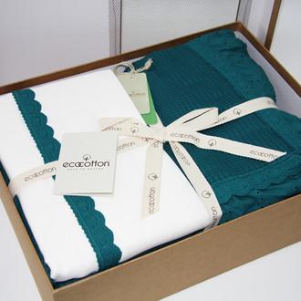 Постельное белье с покрывалом пике для укрывания Ecocotton ALESSA органический хлопок (нефть)