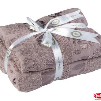 Подарочный набор полотенец для ванной 50*90, 70*140 Hobby Home Collection VERSAL хлопковая махра (визон)
