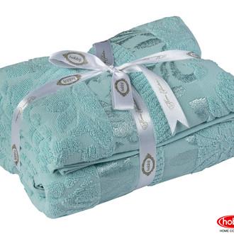 Подарочный набор полотенец для ванной 50*90, 70*140 Hobby Home Collection VERSAL хлопковая махра (зелёный)