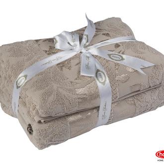 Подарочный набор полотенец для ванной 50х90, 70х140 Hobby Home Collection VERSAL хлопковая махра коричневый