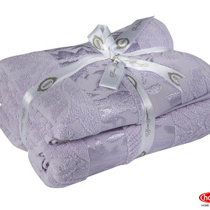 одарочный набор полотенец для ванной 50х90, 70х140 Hobby Home Collection VERSAL хлопковая махра лиловый