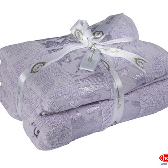 Подарочный набор полотенец для ванной 50*90, 70*140 Hobby Home Collection VERSAL хлопковая махра лиловый
