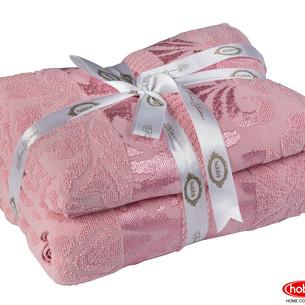 одарочный набор полотенец для ванной 50х90, 70х140 Hobby Home Collection VERSAL хлопковая махра розовый