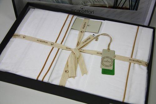 Постельное белье Ecocotton HUMA органический хлопковый сатин делюкс кремовый евро-макси, фото, фотография