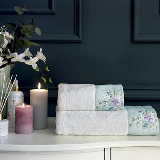 Подарочный набор полотенец для ванной 2 пр. Tivolyo Home ORNELIA хлопковая махра (кремовый)